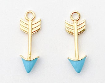 1PC - Turquoise Arrow Charm, Turquoise Stone , 5×16mm Arrow Pendant, 14K Polished Gold-Plated [P1340-PG]