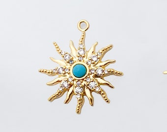 1 PC - 19mm Sun Turquoise Charm, Star Stone Charm, Dainty Sunburst Pendant , Cubic Charm , 14K Polished Gold Plated [P1338-PG]