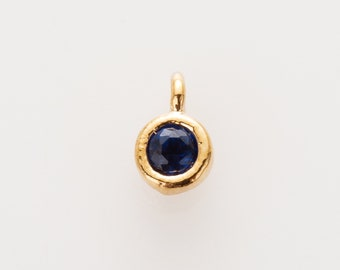 2mm CZ- Sapphire September Birthstone Charm, Personalized Jewelry, Polished Gold-plated -1pc[P0369-PGSP]