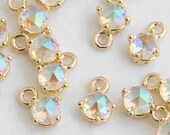 1PC - Rainbow Tiny Round Glass Pendant, Opalescent, Aurore Boreale charm, 14K Polished Gold-Plated G0184-PGAB