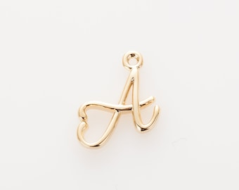 A - Alphabet, Initial, Letter, Brass pendant Polished Gold -Plated - 2 Pieces [P0696-PG]