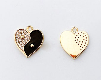 1 PC - Yin and Yang Heart Charm, Black and White Pendant, Cubic Zirconia Crystal, black epoxy , 14K Polished Gold Plated [P1341-PG]