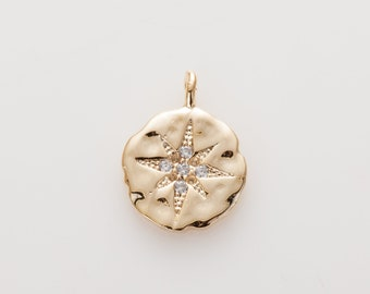 11mm North Star Pendant(Large), Cubic Pendant , CZ Pendant, Jewelry Making, Polished Gold - plated- 2 Pieces [MO0004-PG]