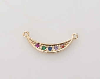 Multi Cubic Crescent  Pendant, 20×8mm Crescent  Charm, Polished Gold-Plated- 2 Pieces<AA0204-PG>