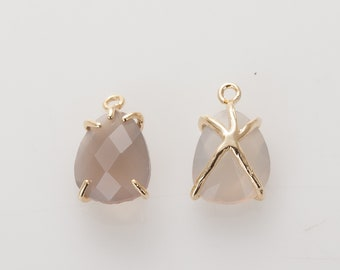 2pcs - 8.5×12mm Grey Agate GemStone Pendant , Drop charm,  native rock , Nature Stone, Charm Polished Gold -Plated - 2 Pieces [SS0058-PGGA]