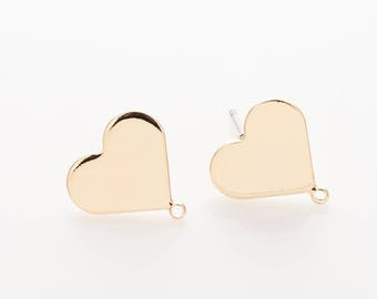 13mm Heart Post Earring ,jewelry Supplies, jewelry Making, Polished Gold- Plated - 2 Pieces [MS0010-PG]
