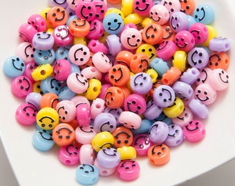 100 Pcs - 6×10mm Smiley Face Beads, Resin bead, Colorful Flat beads, Bracelet Beads, Jewelry Making, DIY Necklace, Jewelry Supplies [B0096]
