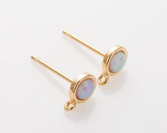 White Opal Post Earring, 5mm Round Post Earring, Opal Oval gemstone, Dainty Earring, Opal Charm Polished Gold Plated - 2 Pieces[G0249-PGWH]