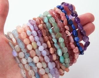 "1PC  - 7"" Gemstone crystal bracelet, healing crystal bracelet, Stretchy String Bracelet, Natural Gemstone Bracelets [ NT0028 ]"