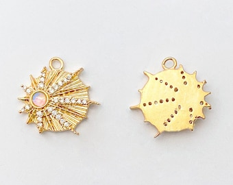 1 PC - Opal Charm with CZ, Cubic Pendant, Starlight Pouring Down, Jewelry Making, 14K Polished Gold Plated [P1343-PG]
