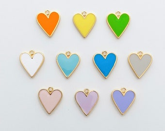 1PC - Enamel Heart Charm, Lovely Heart  Pendant, Jewelry Supplies, Jewelry Making, 14K Polished Gold-Plated Over Brass [P1168-PG]
