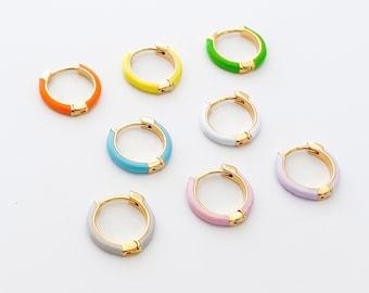 2PCS - Enamel One touch Earring, Round Hoop Epoxy Earring, Lovely Earring Supplies, 14K Gold Plated [E0635-PG]