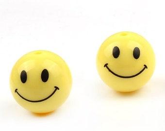 50PCS - 10mm ,12mm Smiley Face Bead , Smiley Charm  , Acrylic pendant , Unique charm [GD0002]