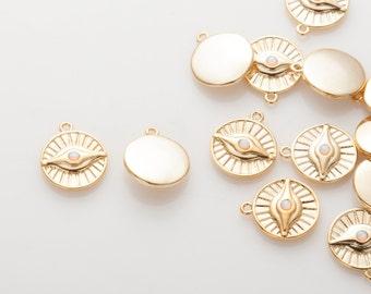 Sun Evil Eye Opal Pendant, Evil Eye Charm, Opal charm Polished gold - Plated - 2 Pieces [P0800-PG]
