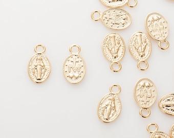 Saint Maria Coin Pendant 7x13mm, Vintage Necklace Pendant, Dainty Necklace Pendant Polished Gold-Plated - 2 Pieces [P0740-PG]