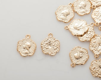 Coin Pendant, Vintage Necklace charms, Dainty Necklace Pendant Polished Gold-Plated - 2 Pieces [P0819-PG]