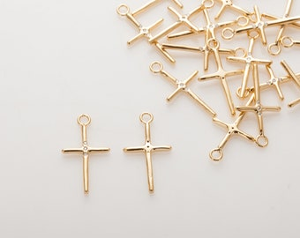 Vintage Cross Pendant, Vintage Necklace charms, Dainty Necklace Pendant Polished Gold-Plated - 2 Pieces [P0788-PG]