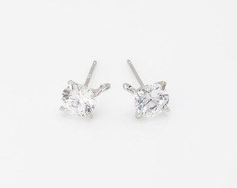Cubic Round  Post Earring ,jewelry Supplies, jewelry Making, Polished Rhodium- Plated - 2 Pieces [E0152-PR]