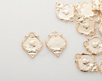 Saint Maria Pendant, Vintage Necklace charms, Dainty Necklace Pendant Polished Gold-Plated - 2 Pieces [P0814-PG]