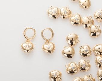 Heart Design Cubic evil eye pendant , evil eye Charm, Heart Evil Eye  Polished Gold-Plated - 2 Pieces [P0742-PG]