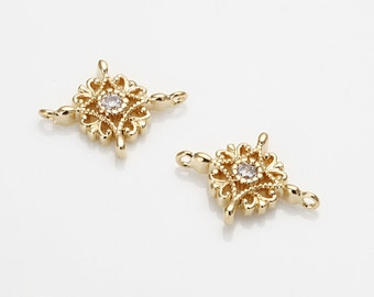 Victorian Style Cubic Brass Connector Jewelry Pendant, Wedding Jewelry Making, Polished Gold- Plated - 2 Pieces [C0036-PG]