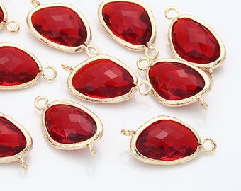 Ruby Glass Connector, Pendant Polished Gold -Plated - 2 Pieces [G0011-PGRB]