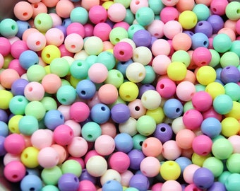50 Pcs - 6mm , 8mm Colorful beads, partly pastel tones, bracelets for kids, opaque glossy, jewelry making beads, Random Mixed [B0093]