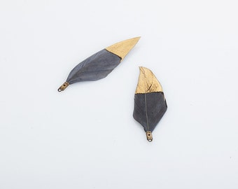 Gray Duck Feather with Gold Dipped 50mm - 2 Pieces [P0432-GR]