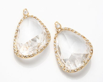 Crystal Glass Pendant, Crystal Czech Stone.  Polished Gold -Plated - 2 Pieces [G0030-PGCR] favorite