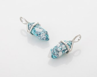 Mint Marble Gemstone Pointed Pendant (Small), Charm Polished Rhodium Plated - 2 Pieces [G0114-PRMT]
