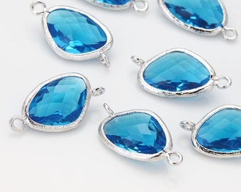 Sapphire Glass Connector (Cross) Polished Rhodium-Plated - 2 Pieces [G0011-PRSP]