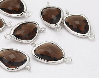 Mocha Glass Connector, Pendant Polished Rhodium -Plated - 2 Pieces [G0011-PRMC]