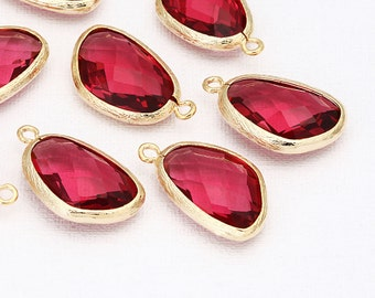 Fuchsia Glass Pendant Polished Gold-Plated - 2 Pieces <G0033-PGFC>