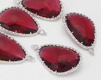 Fuchsia Glass Pendant, Crystal Czech Stone.  Polished Rhodium -Plated - 2 Pieces [G0030-PRFC]