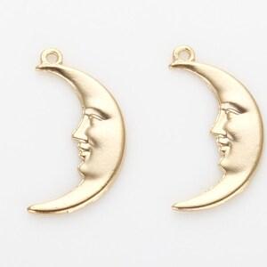 2 pcs Antique Silver Moon Face Hand Mirror Pendant 30x62mm A4244