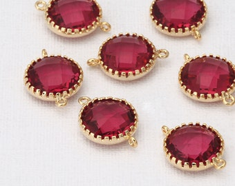 Fuchsia Round Glass Connector Polished Gold-Plated - 2 Pieces [G0032-PGFC]