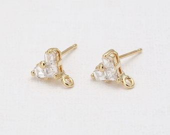 Wedding Jewelry Cubic Heart Post Earring Polished Gold- Plated - 2 Pieces <E0123-PG>