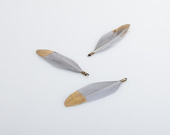 Light Gray Duck Feather with Gold Dipped 50mm - 2 Pieces [P0432-LGR]