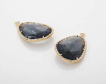 Charcoal Glass Pendant, Crystal Czech Stone Polished Gold Plated - 2 Pieces [G0030-PGCC]