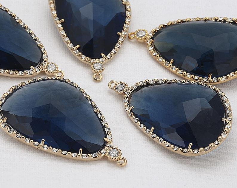 Montana Glass Pendant Crystal Czech Stone.  Polished Gold image 0