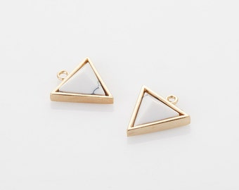 White Marble Triangle Pendant (Large), Howlite Cone Charm Polished Gold -Plated - 2 Pieces [G0145L-PGHW]