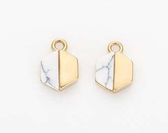 Howlite Gemstone Connector, White Marble Hexagon Shape Pendant Polished Gold Plated - 2 Pieces [G016601-PGHW]
