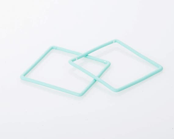 Polished Original Rhodium Plated  2 Pcs CG065-PR-MT Jewelry Craft Supplies Mint Glass Pendant