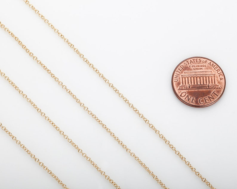 230S Chain /_ Necklace Cable Chain 1.2mm x 1.5mm Jewelry Supplies CH230S-PG Craft Supplies 1 Meter Polished Gold Plated over Brass