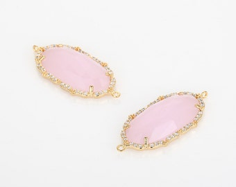 Clearance(60%DC) - Ice pink Glass Pendant Cubic Zirconia(Cross Connector)  Polished Gold-Plated - 1 Pieces [G0089-PGIP]_Regular price 7.90