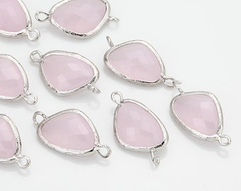 Ice Pink Glass Connector, Pendant Polished Rhodium -Plated - 2 Pieces <G0011-PRIP>