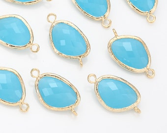 Ocean Blue Glass Connector, Pendant Polished Gold-Plated - 2 Pieces [G0011-PGOB]