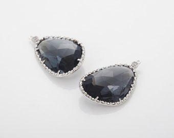 Charcoal Glass Pendant, Crystal Czech Stone Polished Rhodium Plated - 2 Pieces [G0030-PRCC]
