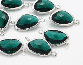 Emerald Glass Connector, Pendant Polished Rhodium -Plated - 2 Pieces [G0011-PREM]
