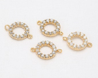 Round Cubic Connector  Polished Gold-Plated - 2 Pieces [C0107-PG]